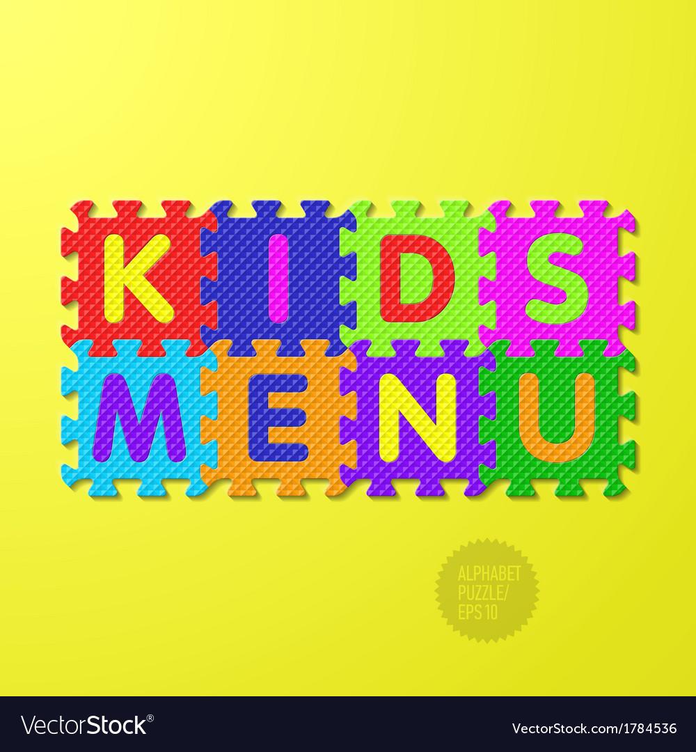 Kids Menu alphabet puzzle