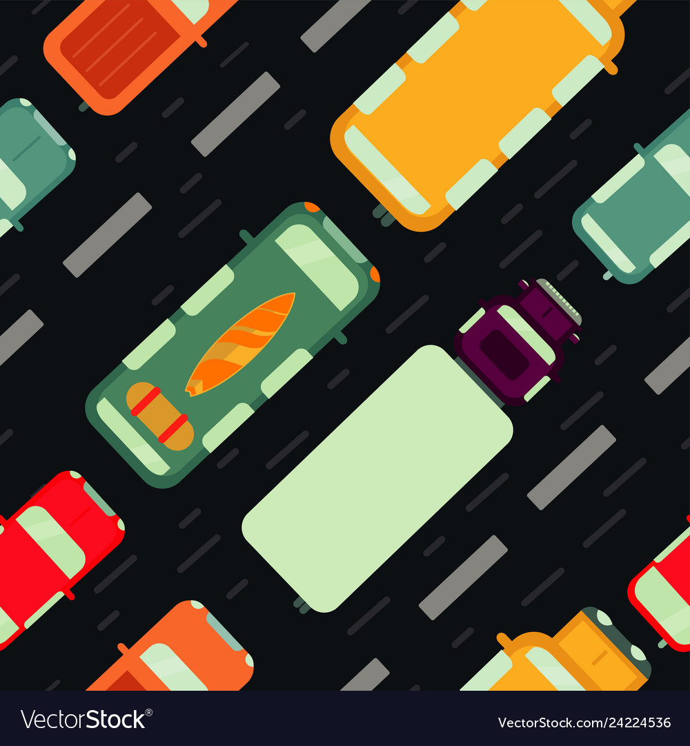 Seamless pattern with car top view
