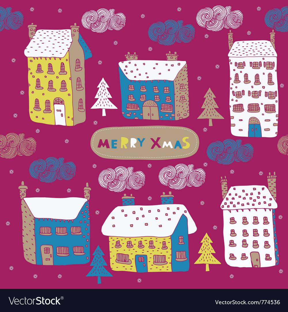 Township winter wallpaper vector image