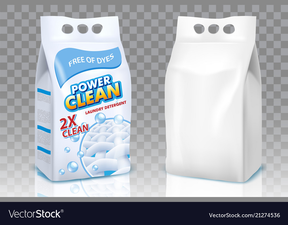 Washing Powder Bags Realistic Mockup Set
