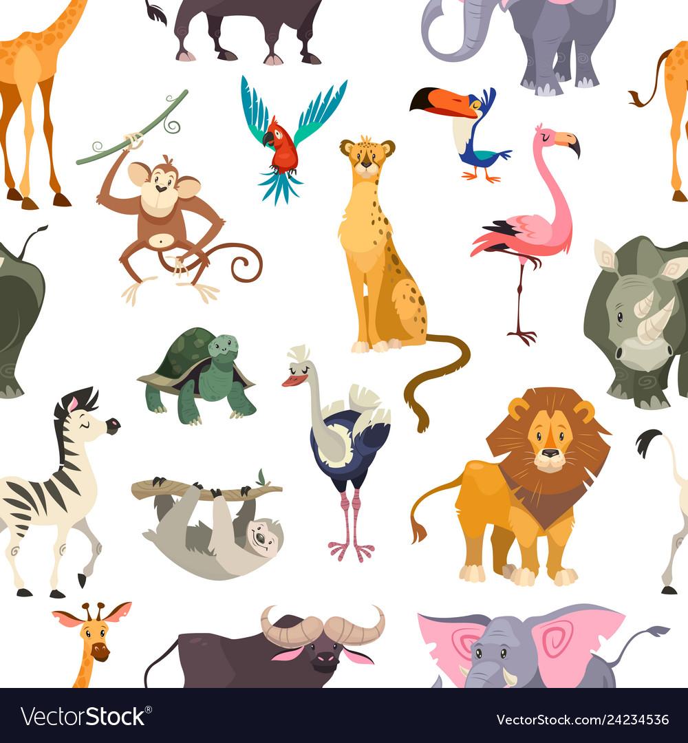 Wild animals seamless pattern african safari