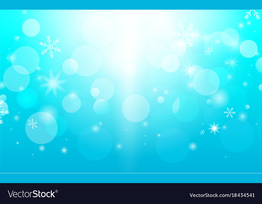 Abstract bokeh and snowflakes in blue background