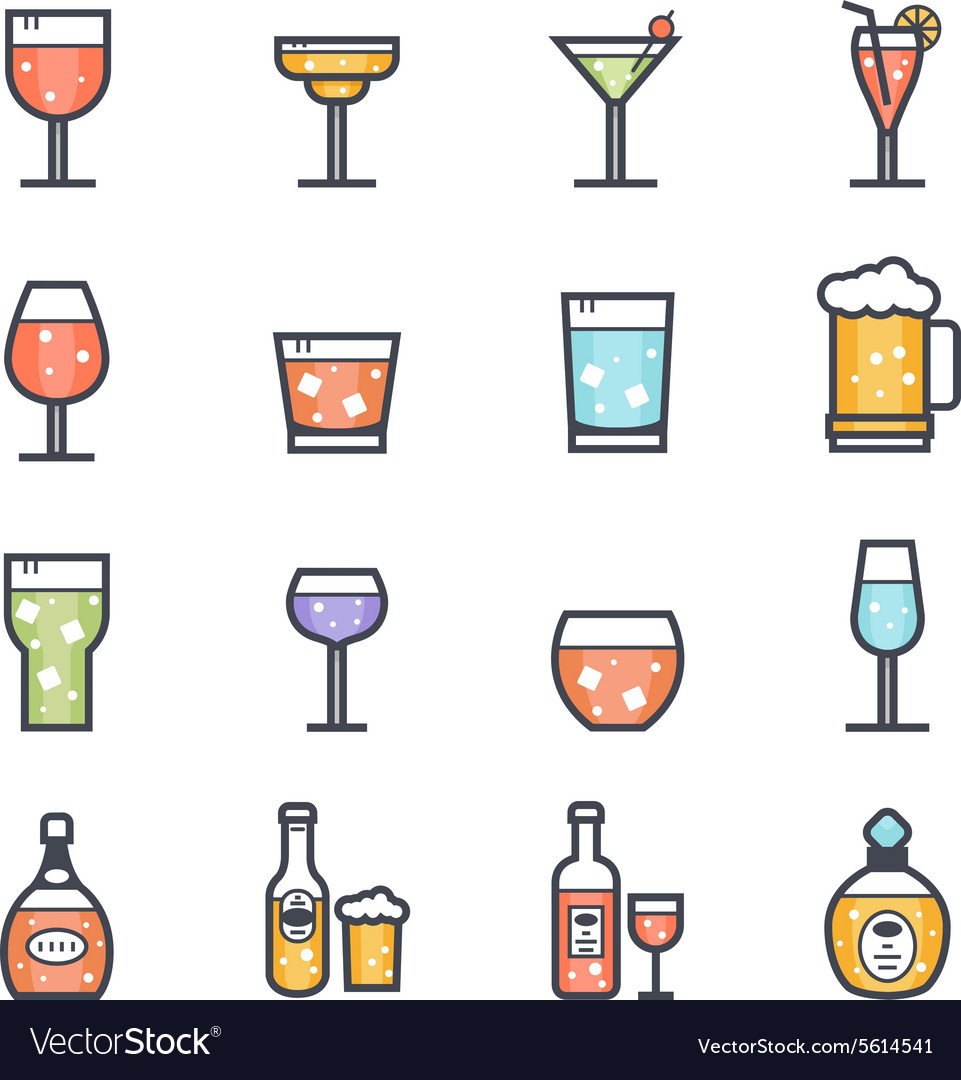 Alcohol Beverage Icon Bold Stroke with Color