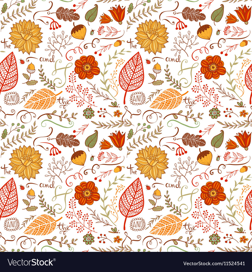 Autumn floral seamless background