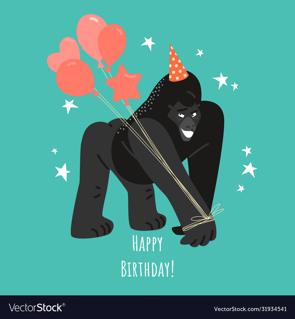 Birthday greeting card with a funny gorilla