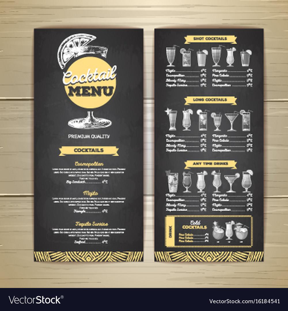 Chalk drawing cocktail menu design