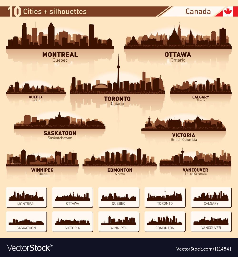 City skyline set Canada silhouettes