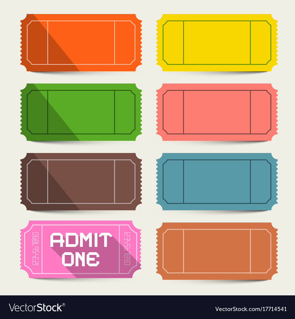 Colorful tickets set admit one ticket