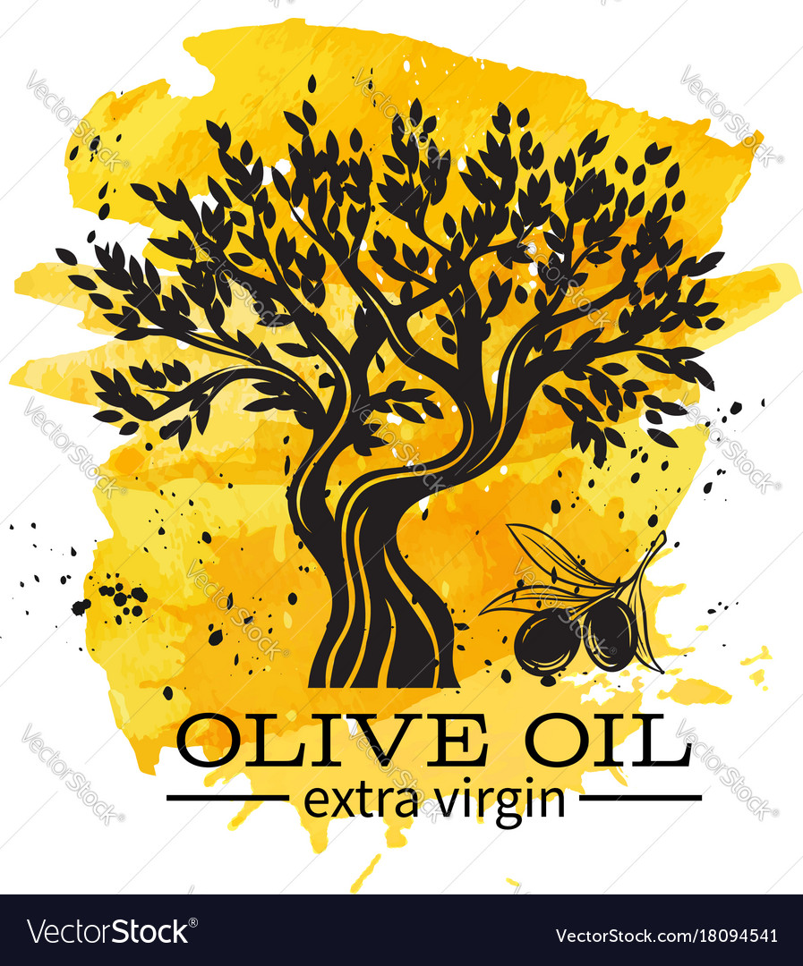 Hand drawn olive tree in retro