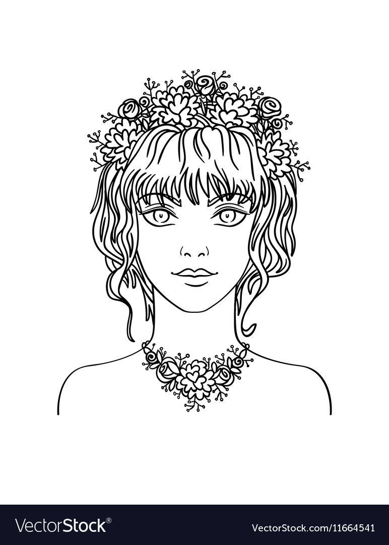 Hand drawn young girl with curly hair and flowers