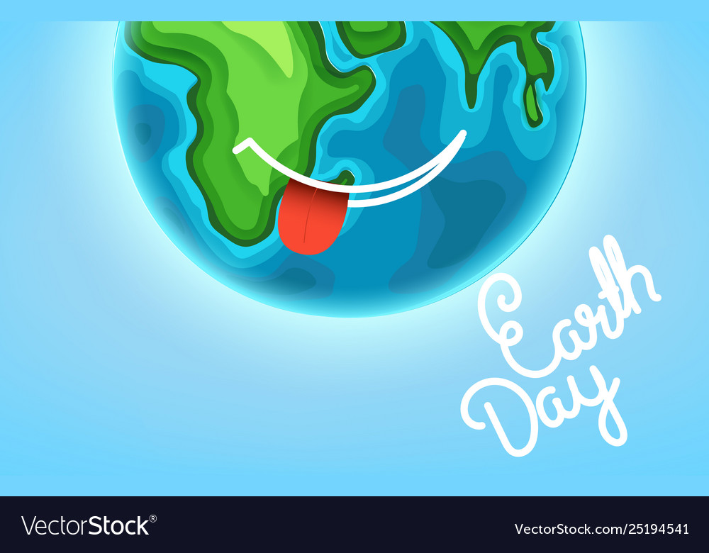 Happy earth day greeting card smiling earth with