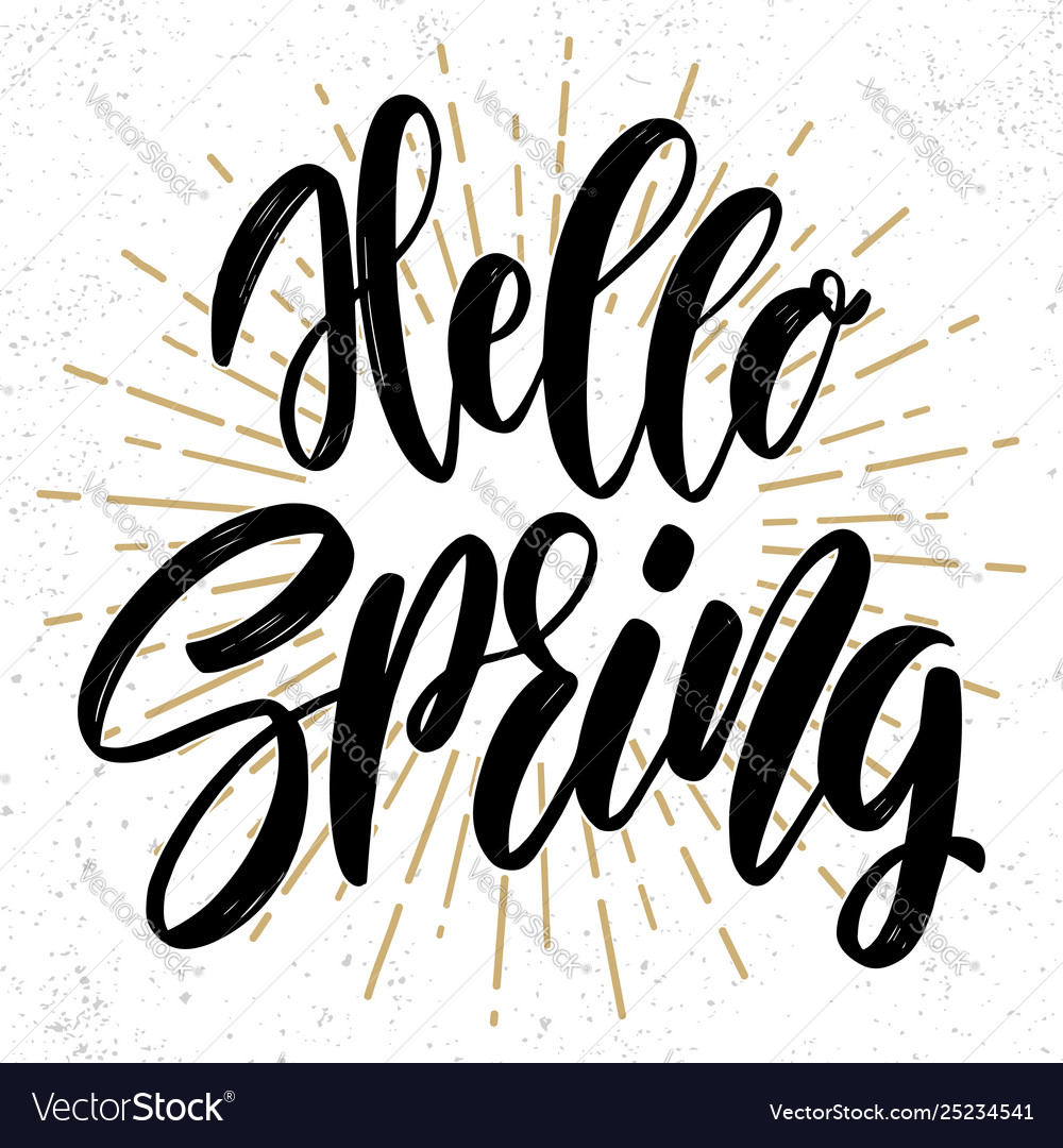 Hello spring text lettering phrase for poster