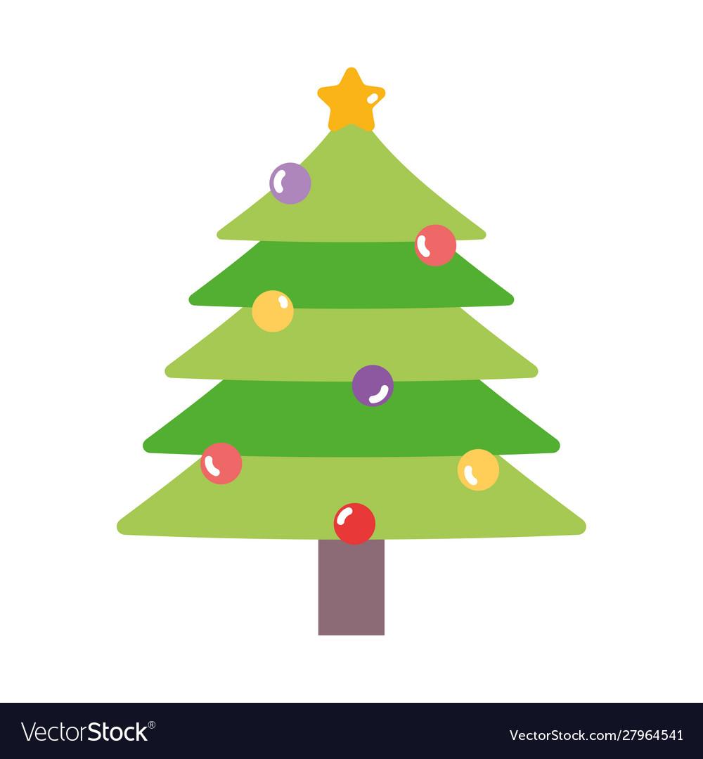 Merry christmas pine tree star balls decoration