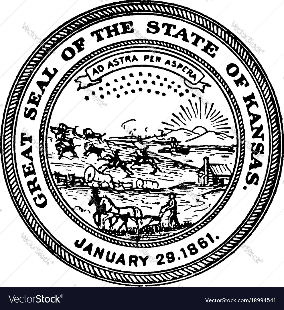 The great seal of the state of kansas 1861 vintage