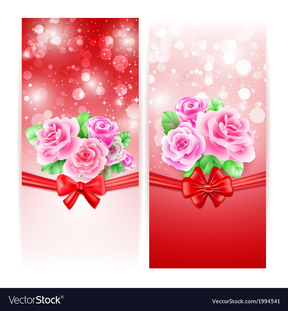 Two glowing banners with roses ribbon and bow