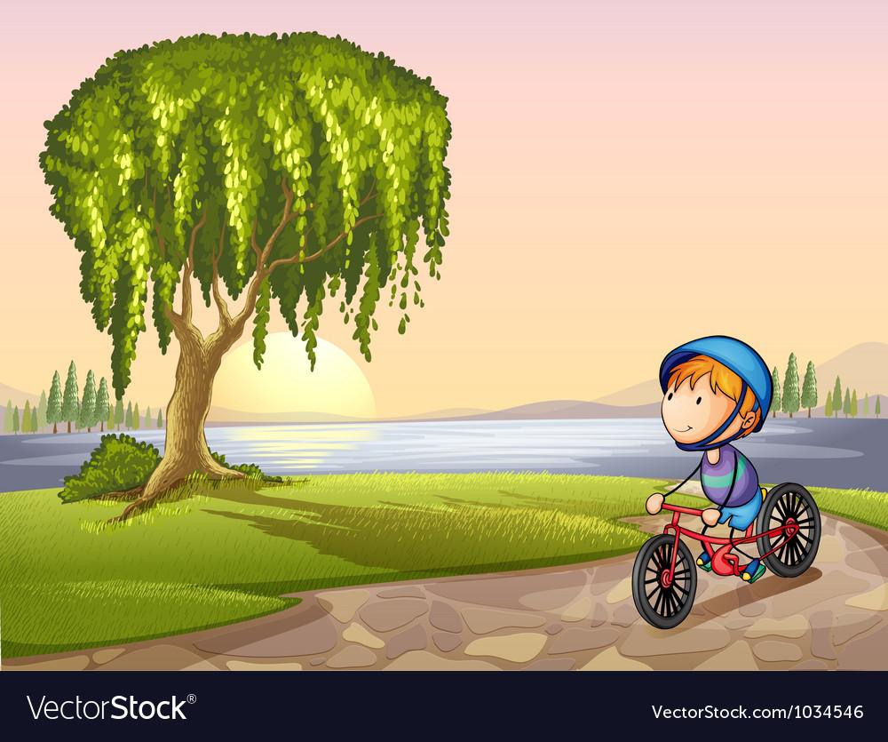 Boy in park vector image