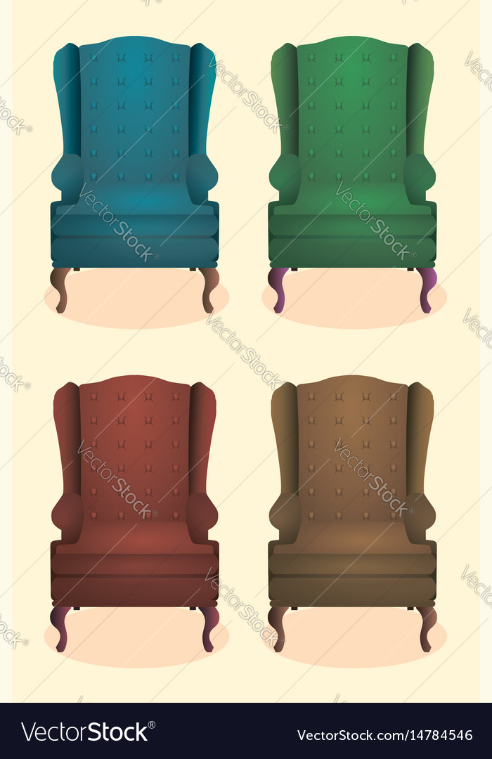 Chair realistic icon set four identical chairs