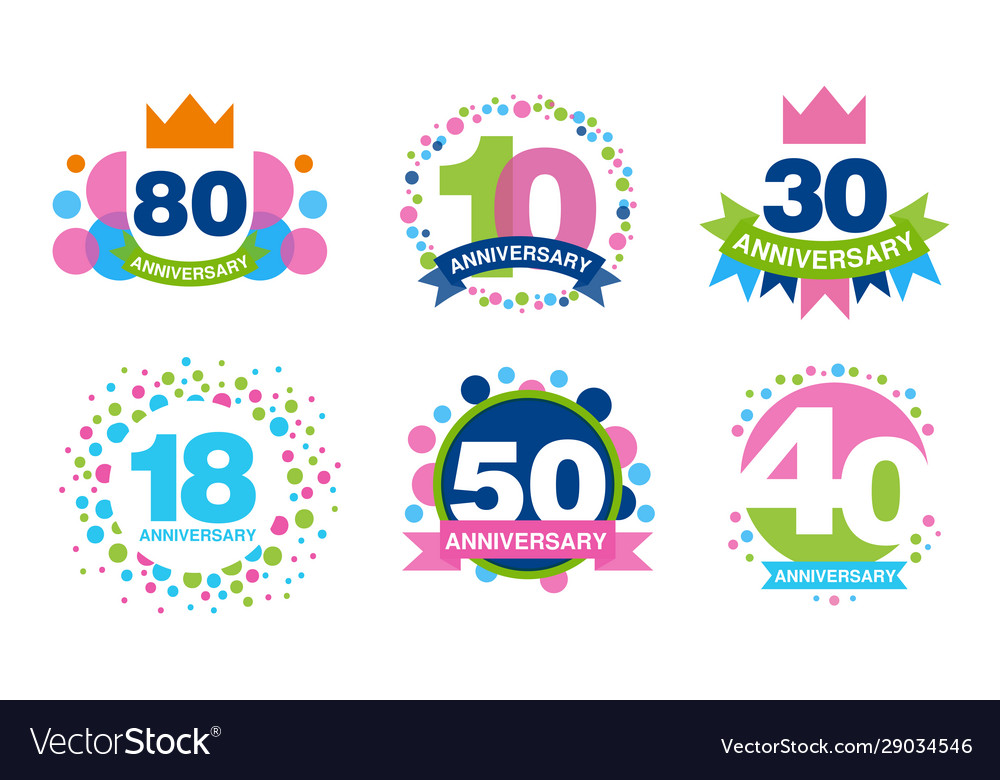 Colorful anniversary labels collection 80 10 30