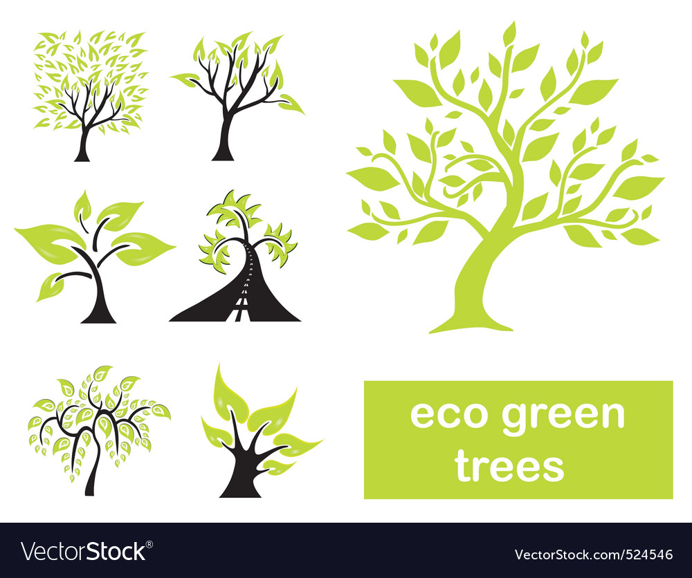 Eco green trees vector image