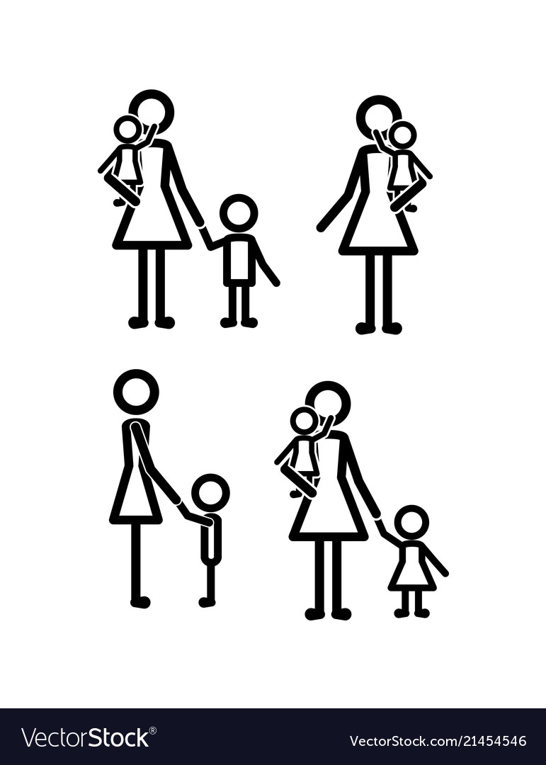 Family members set lines figures