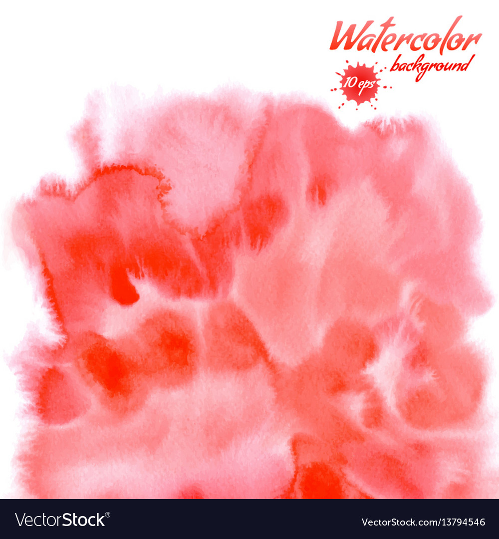 Handpainted red watercolor background vector image