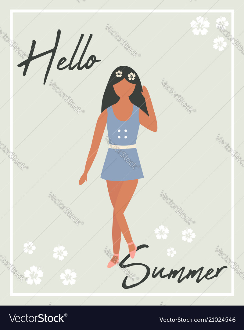 Hello summer poster with pretty girl