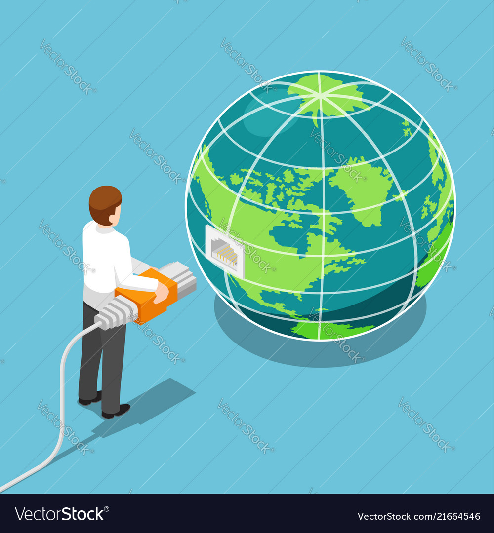 Isometric businessman connecting network cable to