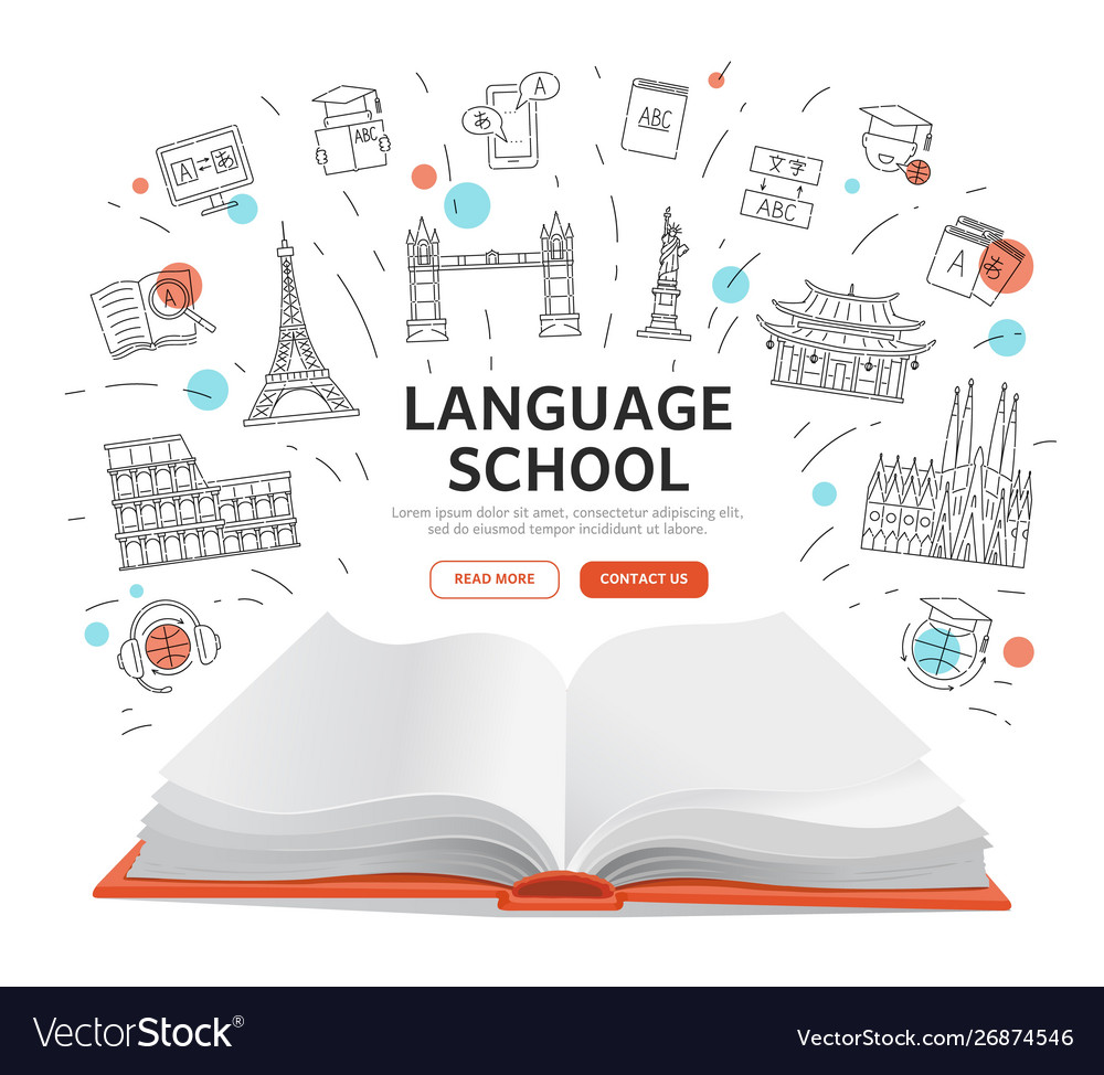 Language school landing page - open book with