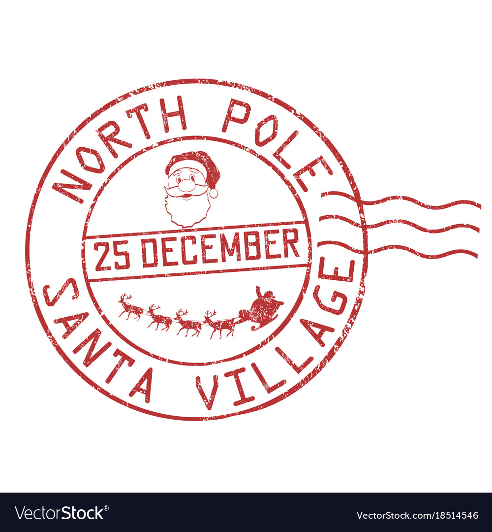 north pole santa postmark for christmas rubber stamp postal