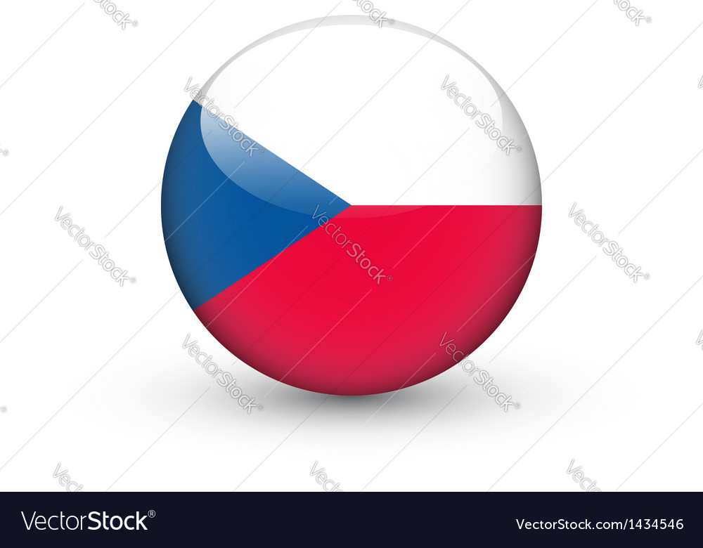 Round icon with flag of the Czech Republic