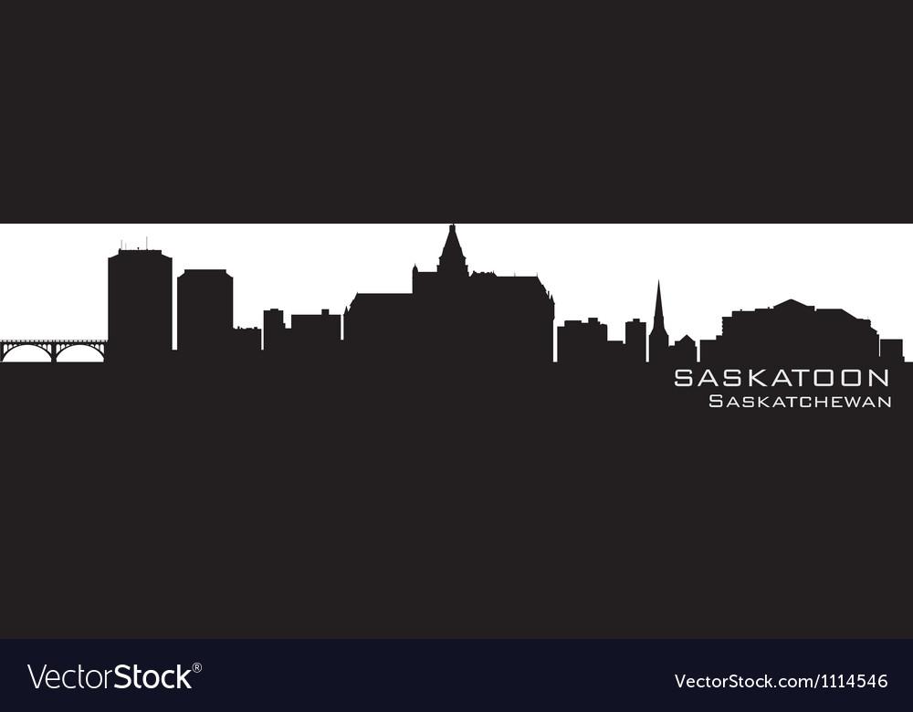 Saskatoon Canada skyline Detailed silhouette