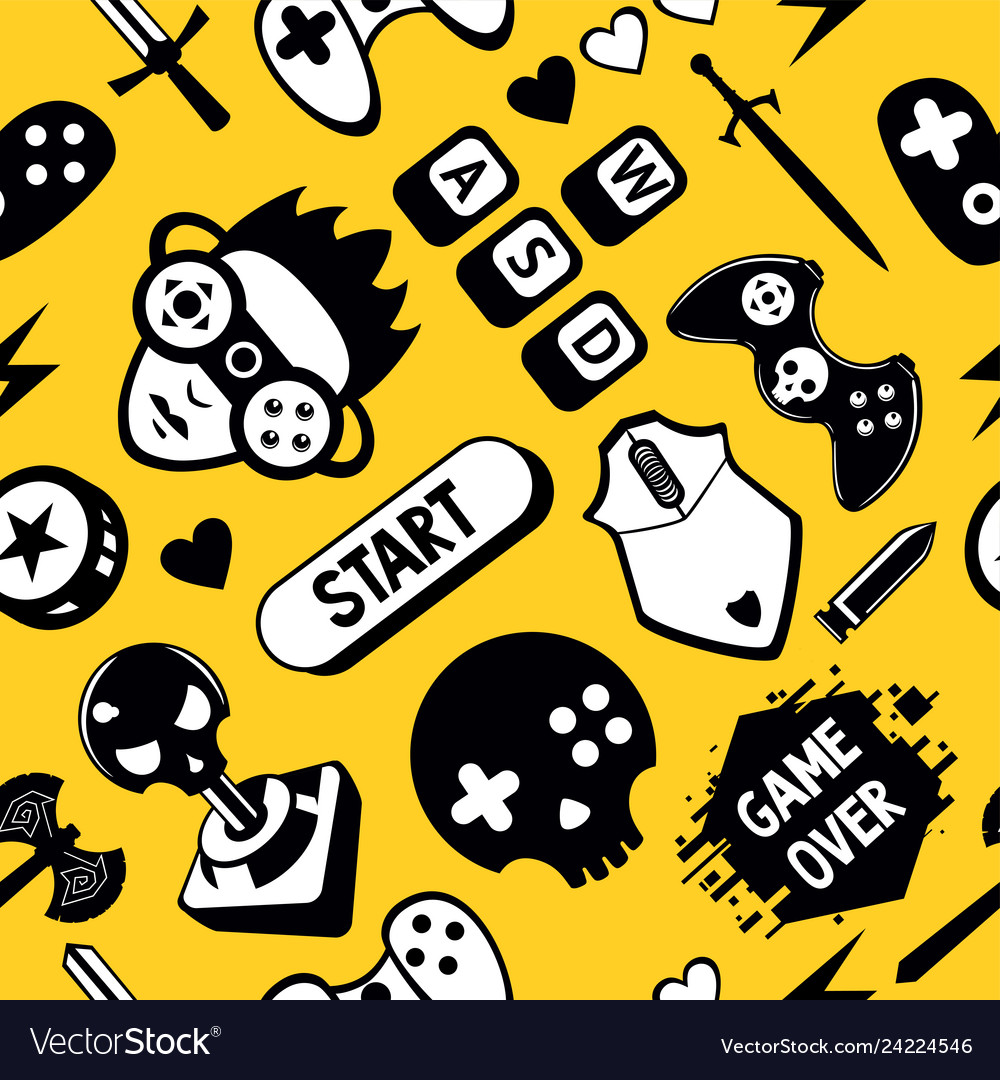 Seamless pattern with game elements funny