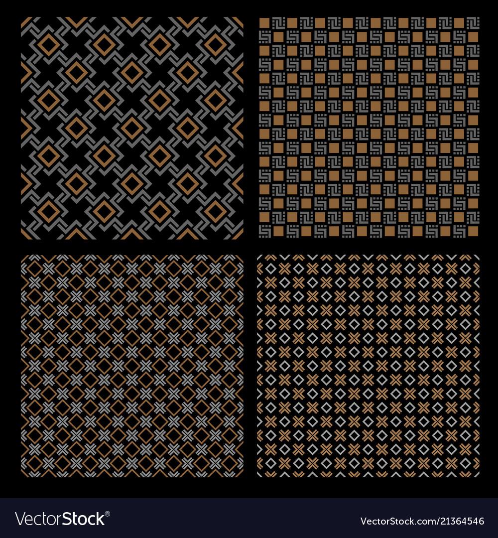 Set of four geometric seamless patterns - celtic