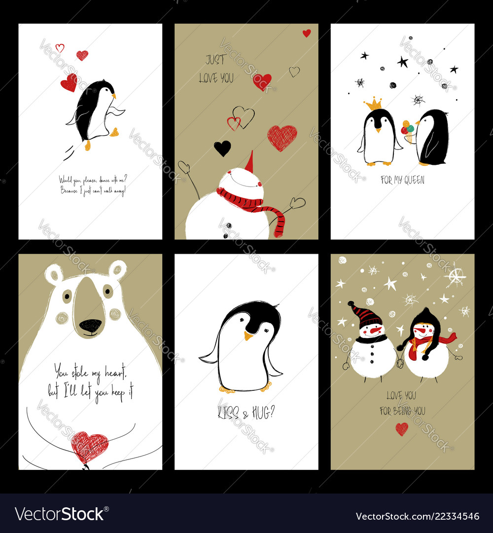 Set of love cards with animals