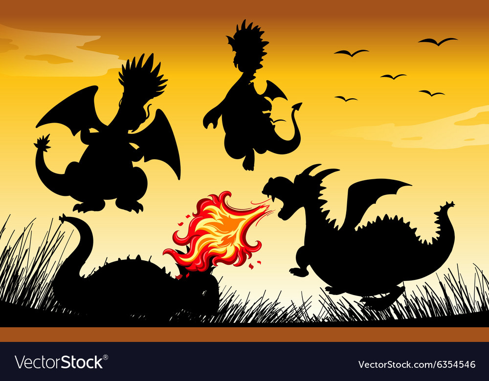 Silhouette dragon blowing fire