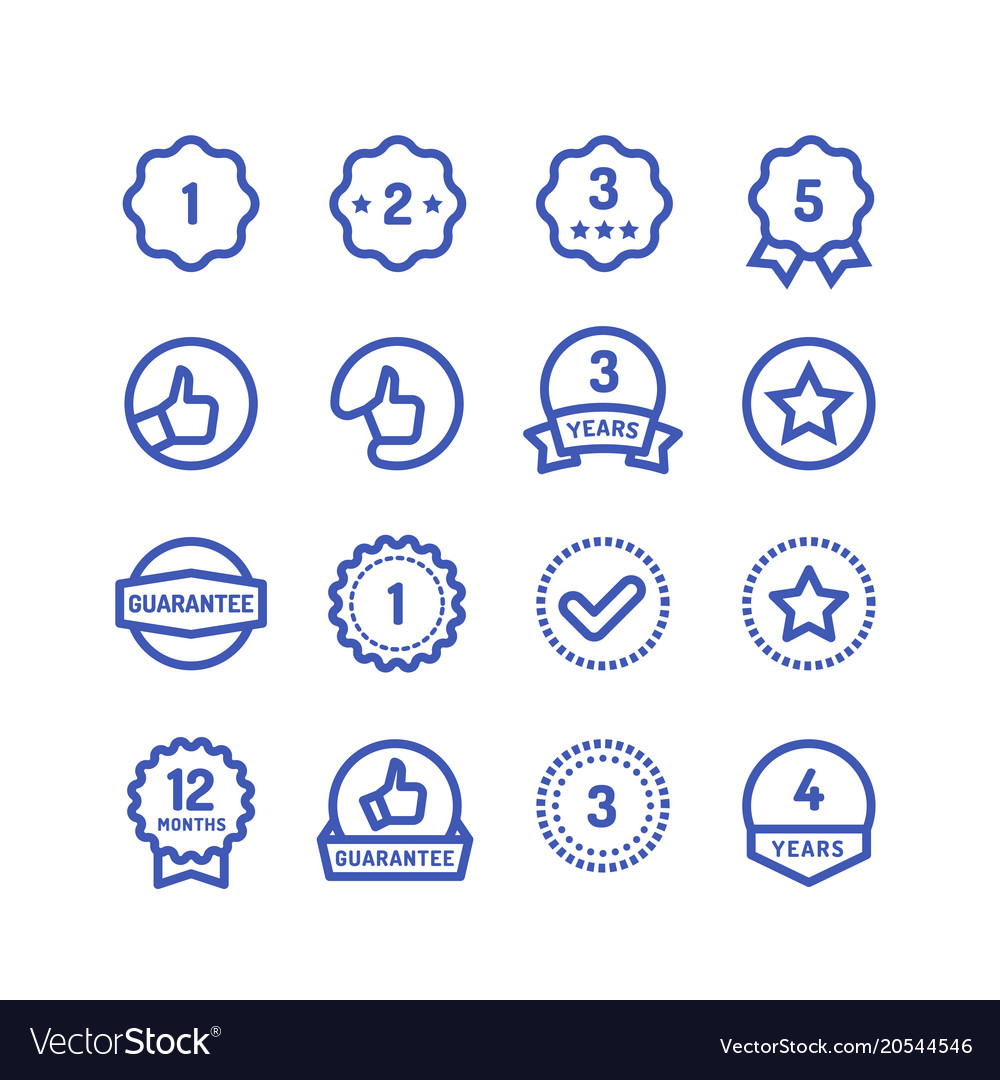 Warranty stamps line icons goods durability vector image
