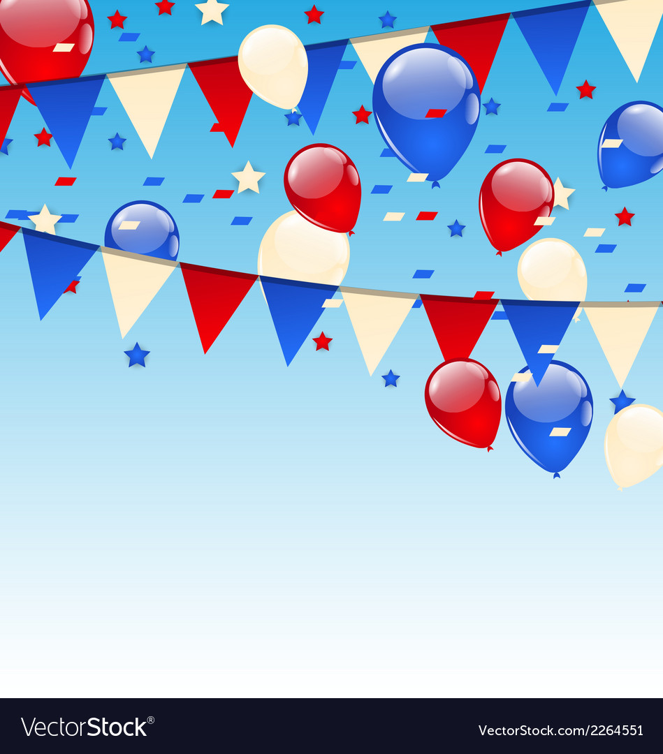 American background with balloons in the blue sky