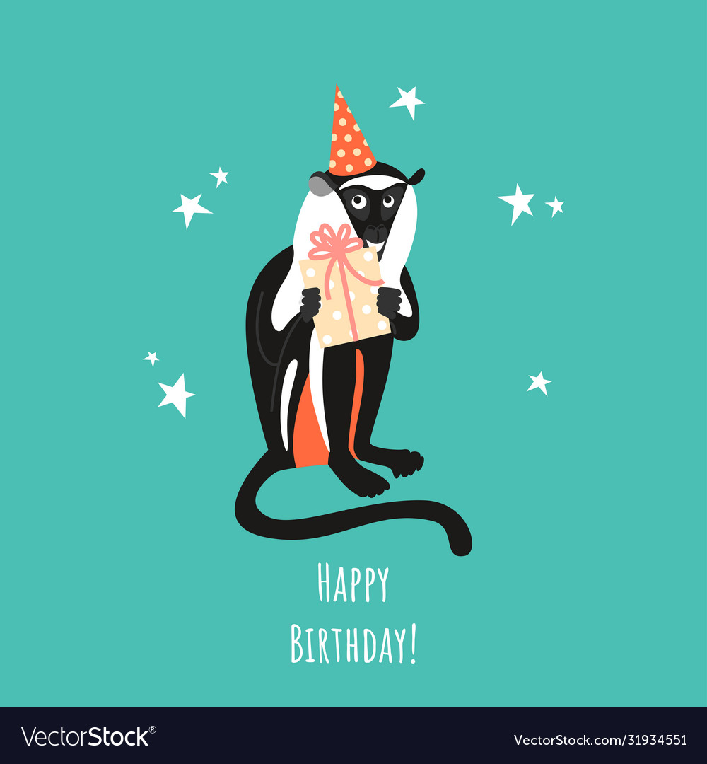 Birthday greeting card with a funny monkey