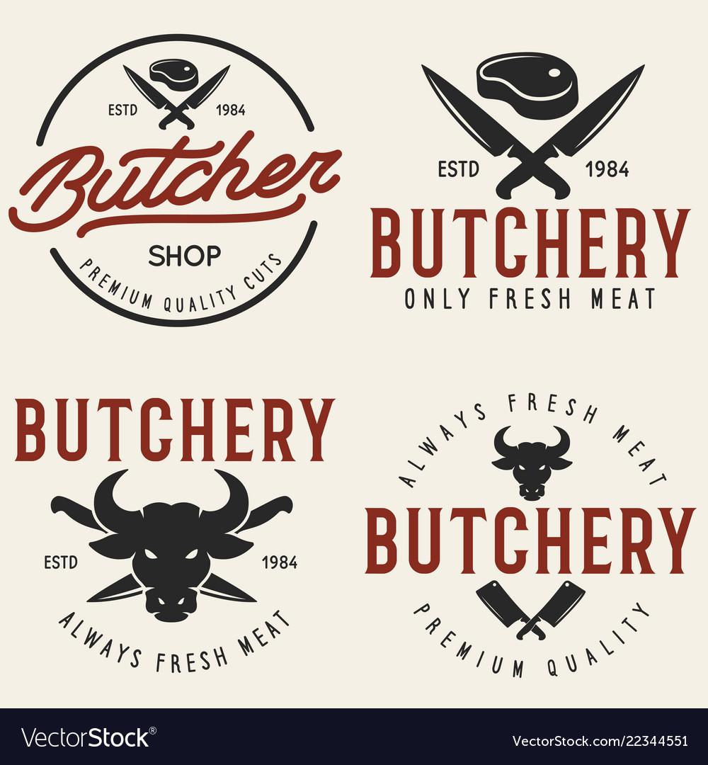 Butcher shop labels badges emblems set butchery