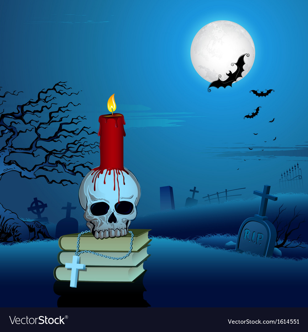 Candle on Skull in Halloween Night