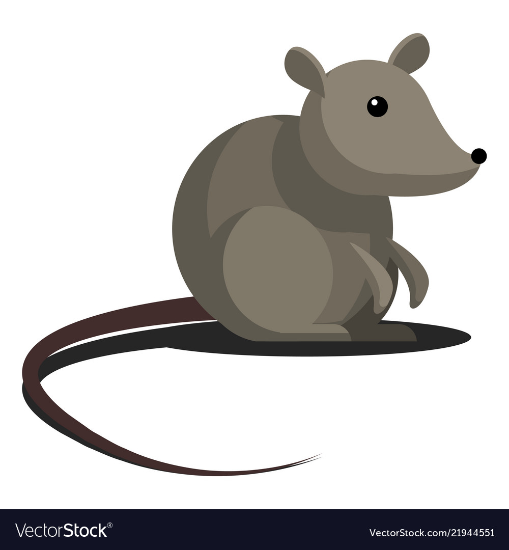 Cartoon simple gray mouse with a long tail