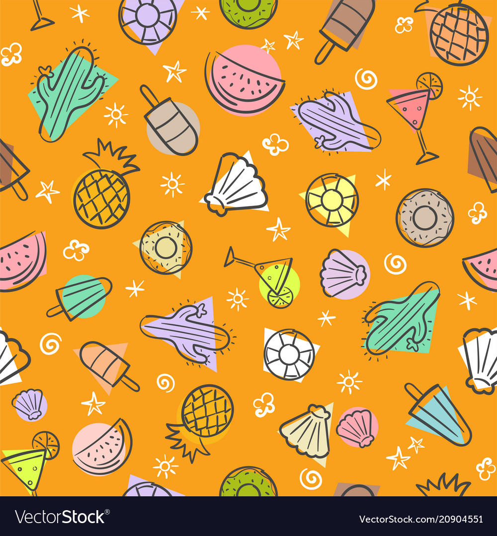 Cute seamless summer pattern with summer elements