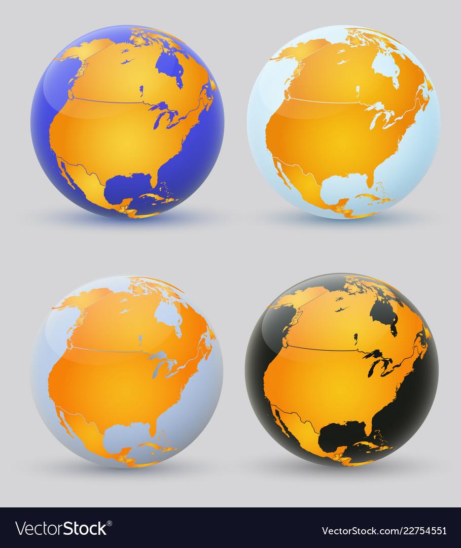 Globe and north america set multi-colored