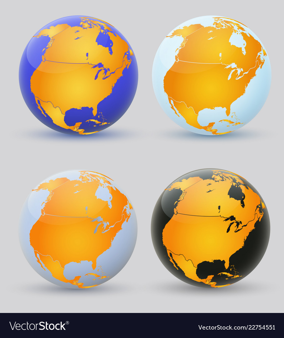 Globe and north america set of multi-colored