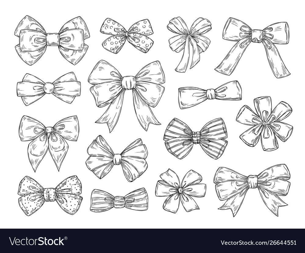 Hand drawn bow fashion tie bows accessories