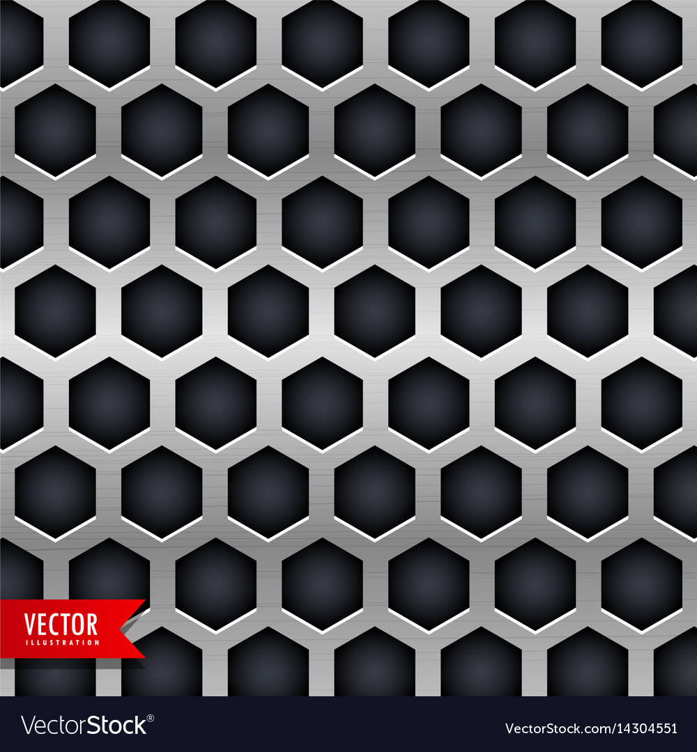 Metal background with hexagonal shapes holes vector image