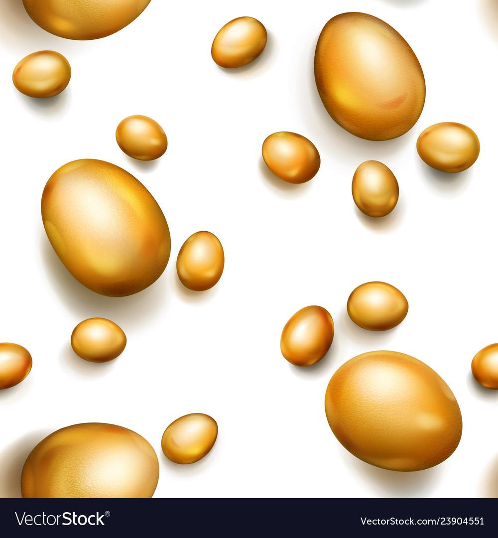 Seamless pattern of golden easter eggs