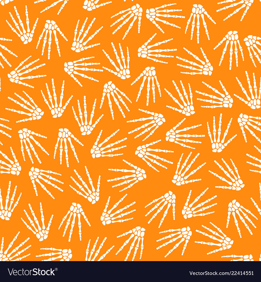 Seamless pattern with human skeleton hand