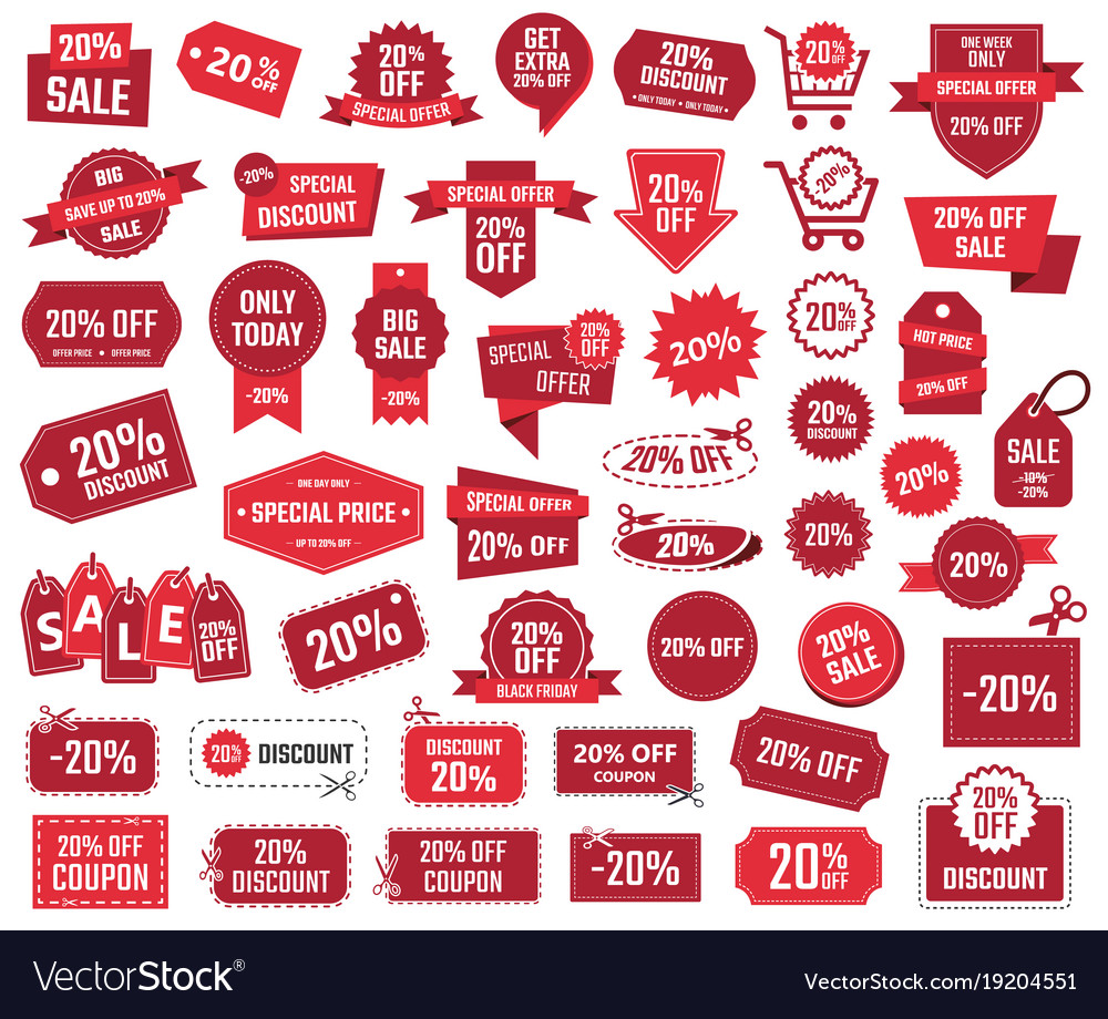 Special offer 20 percent sale banners and coupons vector image
