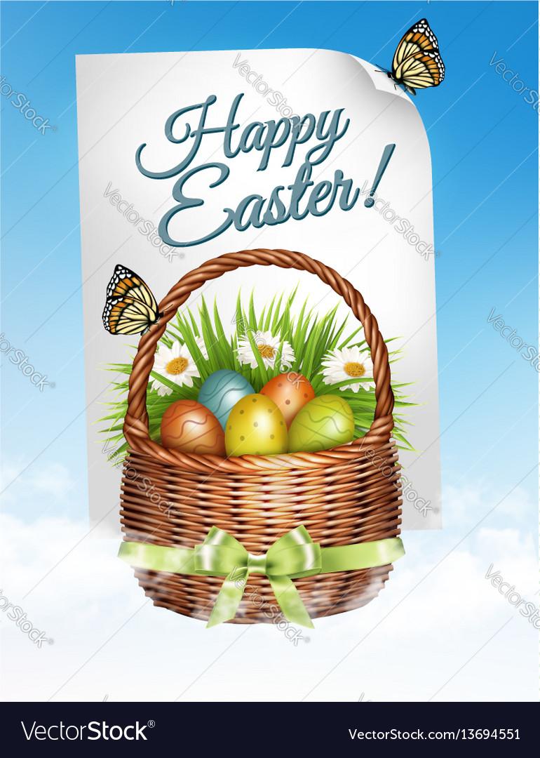 Spring easter background easter eggs in basket